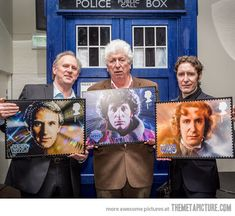 Doctor Who legends with their stamps for the 50th anniversary. Peter Davidson 5th, Tom Baker 4th, Paul McGann 8th.