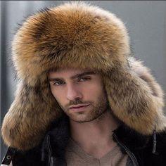 c9917850c59 New Raccoon Natural color No splicing fur hat Men s fox raccoon fur hat Hot  Sale Leather