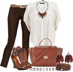 """""""Brown Hues"""" by mssgibbs ❤ liked on Polyvore"""