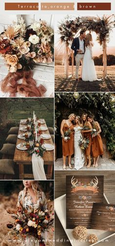 romantic boho style terracotta, orange and brown fall wedding colors fall wedding 5 Unique Wedding Color Combos to Make Your Big Day Stand Out Unique Wedding Colors, Neutral Wedding Colors, Unique Weddings, Blue Weddings, Winter Weddings, Romantic Weddings, Outdoor Weddings, Country Weddings, Popular Wedding Colors