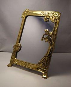 STUNNING~ ANTIQUE~ ART NOUVEAU~ ORNATE ~ BRASS VANITY MIRROR ~ in Antiques, Decorative Arts, Mirrors | eBay