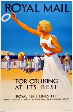 Royal Mail Line Cruises, 1930s - original vintage poster by Padden listed on AntikBar.co.uk