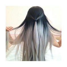 black, hair, ombre, white - image #2774887 by Lauralai on Favim.com via Polyvore featuring accessories, hair accessories and white hair accessories