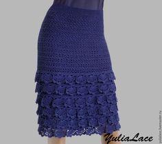 Купить или заказать Вязаная юбка синяя в интернет-магазине на Ярмарке Мастеров. Юбка связана крючком из 100% хлопка. Длина 60 см. Ажурная кокетка. без подкладки. Возможно выполнение в другом цвете и любого размера. Цена …