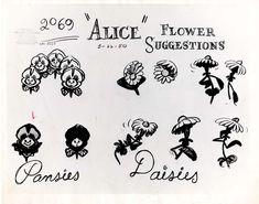 Vintage Disney Alice in Wonderland: Animation Model Sheet 350-8019 - Flower Suggestions for Pansies & Daisies