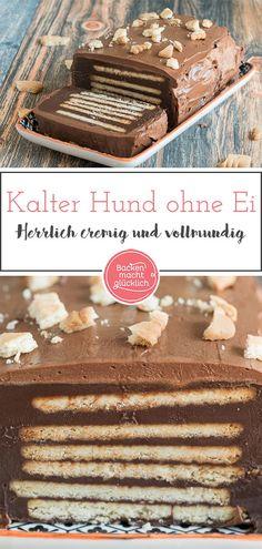 Kalter Hund ohne Ei Vegan Cake vegan cake konditor and cook Dog Recipes, Keto Recipes, Cake Recipes, Dessert Recipes, Desserts, Cake Simple, Chocolate Biscuit Cake, Cake Vegan, Baked Eggs