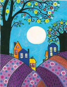 8x10 FOLK ART PRINT OF PAINTING RYTA LAVENDER HILLS TREES ABSTRACT MOON HOUSES | eBay