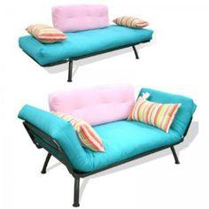 "Modern Loft Solid Series Mali Futon Combo (Teal Pink Candy) (29""H x 31""W x 61""D): Home & Kitchen"