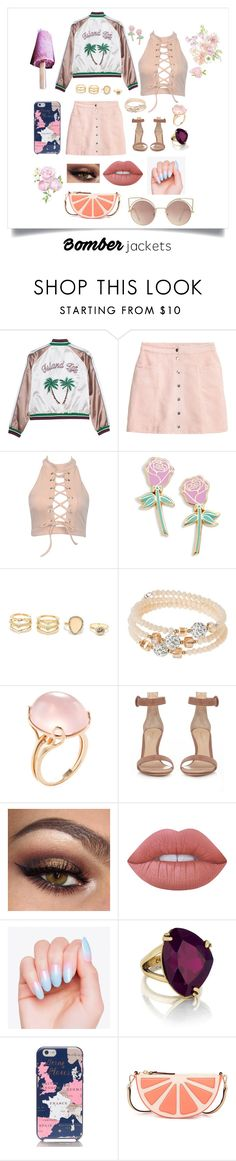 """""""Bomb Fit"""" by occlumency15 ❤ liked on Polyvore featuring Big Bud Press, LULUS, sweet deluxe, Goshwara, Gianvito Rossi, Lime Crime, Chloe + Isabel, Kate Spade, MANGO and bomberjackets"""