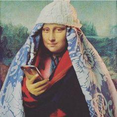 "Leonardo da Vinci's La Joconde a.k.a Mona Lisa instagramming in ""Real Deal"" COMFY winter style. ❄"