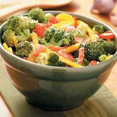Italian Broccoli with Peppers Recipe -This healthy side dish goes with just about anything. And for a satisfying meal, we like it over pasta or grilled chicken or turkey breasts. —Maureen McClanahan, St. Louis, Missouri