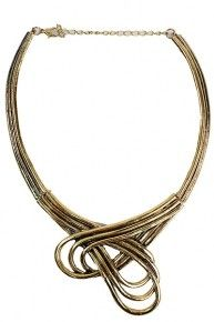 METAL NECKLACE WITH DOUBLE LINE TEXTURE HOOP CENTER