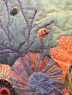 .Dresden of the Sea by Diane E. Miller.  Viewers' Choice Award, 2015 Springville (Utah) quilt show.  Closeup photo by Quilt Inspiration.