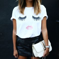 Batting my lashes because our fave Lips and Lashes tee is back in stock!  @shop_sincerelyjules shopsincerelyjules.com
