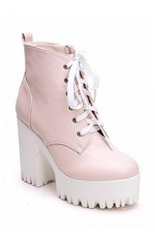 Simple Style Women's Boots With Chunky Heel and Platform Design #streetstyle #boot #shoes #pink