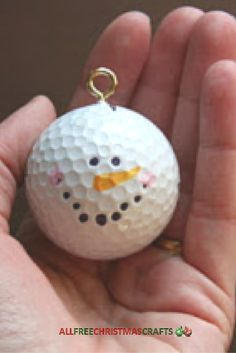 Score a hole in one with a golfing fan by giving them a Golf Ball Snowman Christmas Ornament Craft. Homemade Christmas ornaments like this are so easy to make, so encourage your kids to help out in making a gift for your favorite golfer. Snowman Christmas Ornaments, Snowman Crafts, Christmas Projects, Holiday Crafts, Christmas Holidays, Christmas Decorations, Christmas Movies, Christmas Tree, Golf Decorations