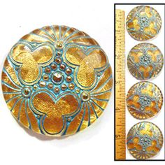 LG 36mm Vintage Czech Glass Glowing Turquoise + Gold Deco Triple BURST Buttons 4
