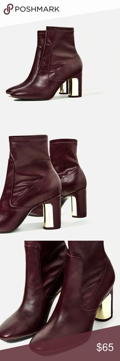 Zara heel detail ankle boots - size 5 Love wine color... stretchy upper material.. heel height just right Zara Shoes Ankle Boots & Booties