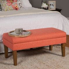 HomePop Mango Coral Chunky Textured Decorative Storage Bench, Green