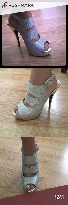 Metallic Silver Glitter High Heels Comfortable metallic silver glitter high heel pumps with blackstrap - very comfortable, perfect for an dance, prom, etc. De Blossom Collection Shoes Heels