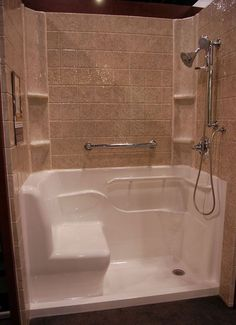 walk in showers for seniors | ... their most popular products is the seated safety shower (shown above