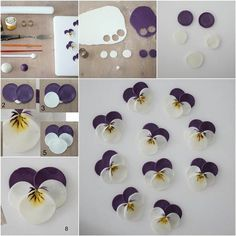 DIY Polymer Clay Pansies  this could work with fondant for cake decoration