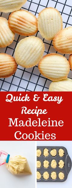 This Madeleine Cookies are French shell shaped cookies. They are crispy on the o… This Madeleine Cookies are French shell shaped cookies. They are crispy on the outside and soft like cake on the inside. It's a quick and easy recipe you will love. French Desserts, Easy Desserts, Delicious Desserts, Dessert Recipes, Easy Cookie Recipes, Baking Recipes, Easy French Recipes, Madeline Cookies Recipe, Madelines Recipe
