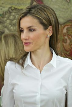 Queen Letizia  attended several audiences at Zarzuela Palace in Madrid