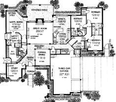 European Style House Plan - 4 Beds 3.5 Baths 2630 Sq/Ft Plan #310-557 Main Floor Plan - Houseplans.com