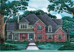 The first impression of this two story Luxury/French Style house plan comes from the beautiful wrap-around veranda leading up to the entry. The next thing you will see as you walk into this luxurious abode is the vaulted family room with its warm fireplace and adjoining sunroom. It also gives a great view of the covered rear porch. To add to the beauty and comfort of this House Plan, please also note the island kitchen, well-windowed dining room, and charming master bedroom. This home has…