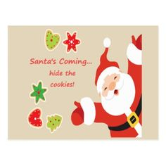#funny - #Santa's Coming hide the cookies Fun Christmas Postcard