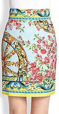 Floral & Wheel Brocade Print Mini Skirt