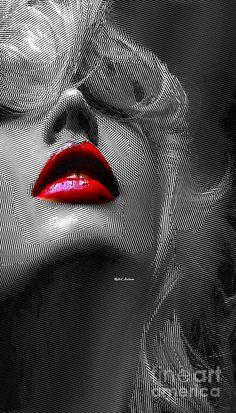 Woman With Red Lips Digital Art by Rafael Salazar