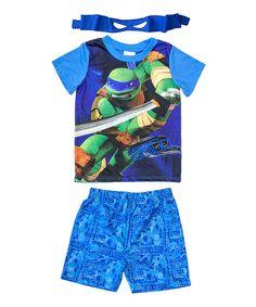 Leonardo TMNT Action Shorts Set - Boys by Nickelodeon #zulily #zulilyfinds