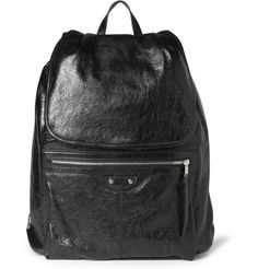 BALENCIAGA SMALL CREASED-LEATHER BACKPACK