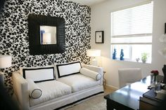 And White Living Room Idea With Cool Wallpaper Listed In