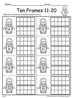 Great NEW FREEBIE SAMPLE ! Please leave some feedback-Thank you! - Ten Frames 11-20 Winter (Fill in the Ten Frames) - kindergarten - first grade - math centers - homework - morning work - minilessons - interventions