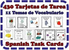 Spanish Task Cards: Vocabulary (11 Sets, 430 Cards)