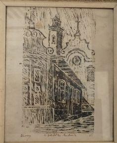 """OLIVEIRA; xilogravura """"São João Del Rei"""", medindo 33 x 40 cm"""