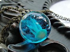 Glow in the Dark Jellyfish Necklace by LittleBearOrigami on Etsy