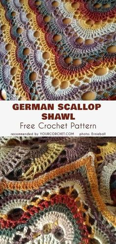 German Scallop Shawl Free Crochet Pattern #freecrochetpatterns #crochetshawl