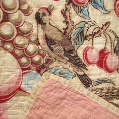 Ultra Rare 1800s Central Medallion Chintz Crib Quilt Basket of Fruit Red Blue Brown Natural Dyes New England