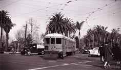 H Line turning on 7th St & Alvarado by MacArthur Park, 1948