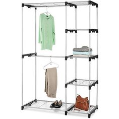 Freestanding Closet Steel Two Hanging Bars Five Wire Closet Shelves Silver Black #CabinetsHome