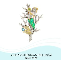 Mermaid kisses and starfish wishes!  Mermaid Pendant with Peridot, Blue Topaz and Green and Blue Lab Created Opal in Sterling and Vermeil