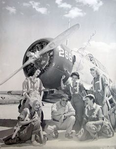 WASP trainees and instructor on the flightline at Avenger Field, 1943.