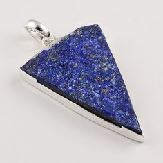 925 Solid Sterling Silver Pendant, Natural Lapis Raw Gemstone Jewelry RSP01…