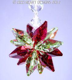 Suncatcher m/w Swarovski Crystal Christmas Ornament Red and Peridot Green…