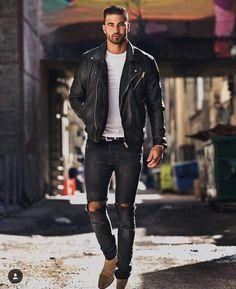 leather jacket biker distressed jeans skinny is part of Mens outfits - Black Leather Jacket Outfit, Biker Jacket Outfit, Black Outfit Men, Jacket Jeans, Biker Jeans, Mens Biker Jacket, Mens Biker Style, Bomber Jacket, Stylish Men