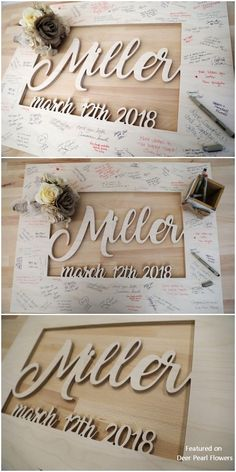 Rustic Alternative Wooden Last Name Wedding Guest Sign Guest Book Sign, Wedding Guest Book, Wedding Reception, Guest Books, Reception Ideas, Outdoor Wedding Inspiration, Wedding Card Design, Wedding In The Woods, Rose Wedding
